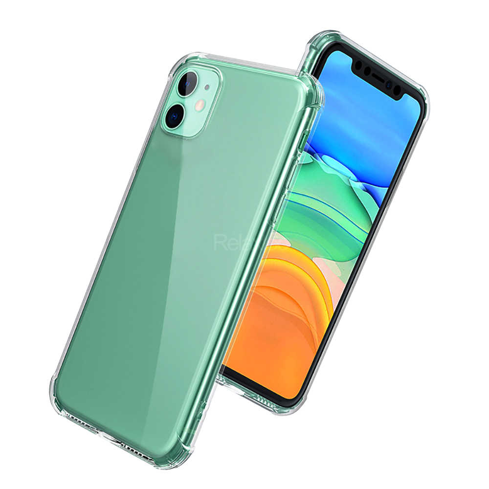 Shockproof Airbag untuk iPhone 11 12 Pro XS Max 12 Mini SE 2020 XR X 8 7 Plus TPU Soft Silicone Transparan Clear Cover