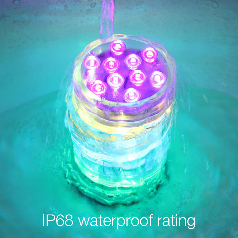 LED Submersible Underwater Lights RGB Swimming Pool Aquarium Lamp Colorful Remote Control IP68 Battery Fish Tank Light Spotlight