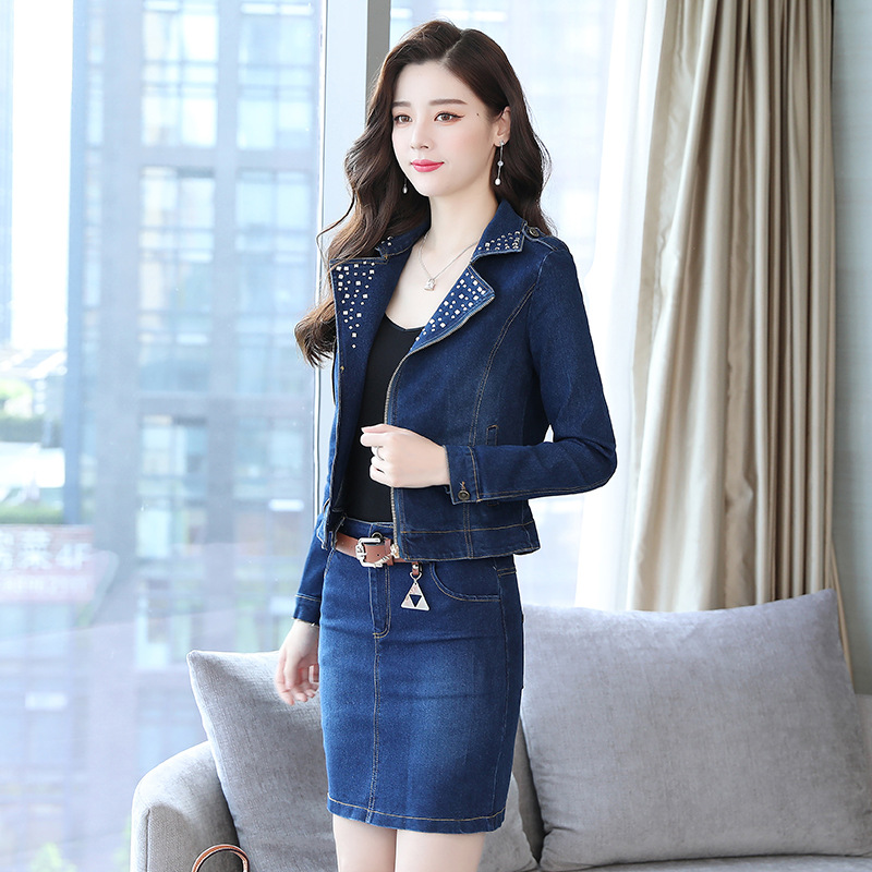 2019 Spring New Style Cowboy WOMEN'S Suit Korean-style Small Suit Two-Piece Set Elegant Sheath One-step Skirt Fashion