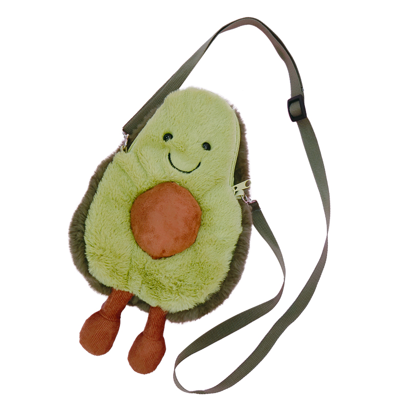 Avocado Shoulder Bag Cute Fruit Plush Backpack Watermelon Pineapple Cherry Ins Hot Coin Purse Super Ugly