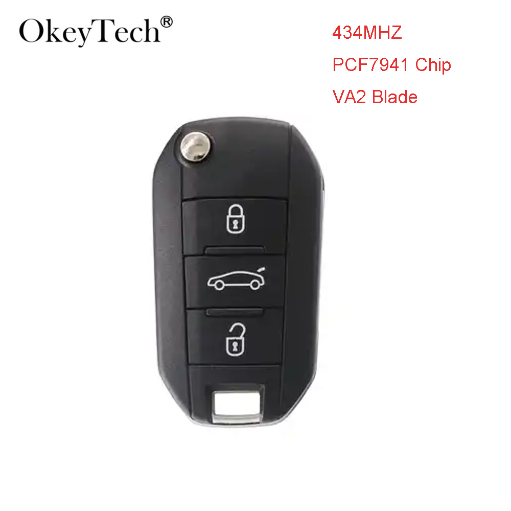 Okeytech 434MHZ With PCF7941 Chip 3 Buttons VA2 Blade Flip <font><b>key</b></font> Car <font><b>Remote</b></font> <font><b>Key</b></font> for <font><b>Peugeot</b></font> <font><b>208</b></font> 2008 301 308 3008 408 508 Hella image