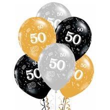 Globos de látex dorados y plateados para adultos adornos para fiesta de cumpleaños, 50 años, 10 Uds.
