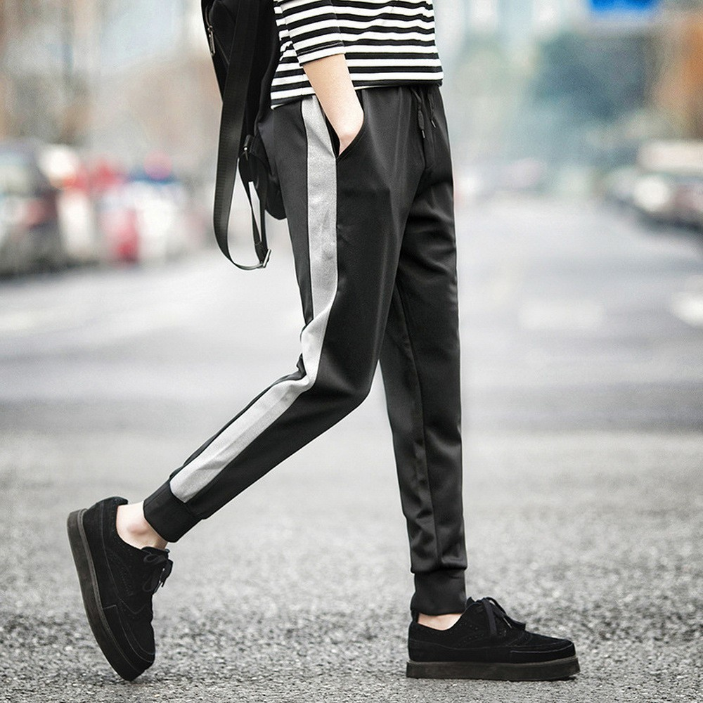 Spring Autumn Men Casual Sweatpants  Mens Sportswear Joggers Striped Pants Fashion Male Skinny Slim Fitted Gyms Harem Pants 2019
