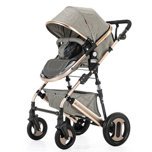 Image 2 - High view stroller light folding ultralight can sit and lie portable baby cart simple umbrella car