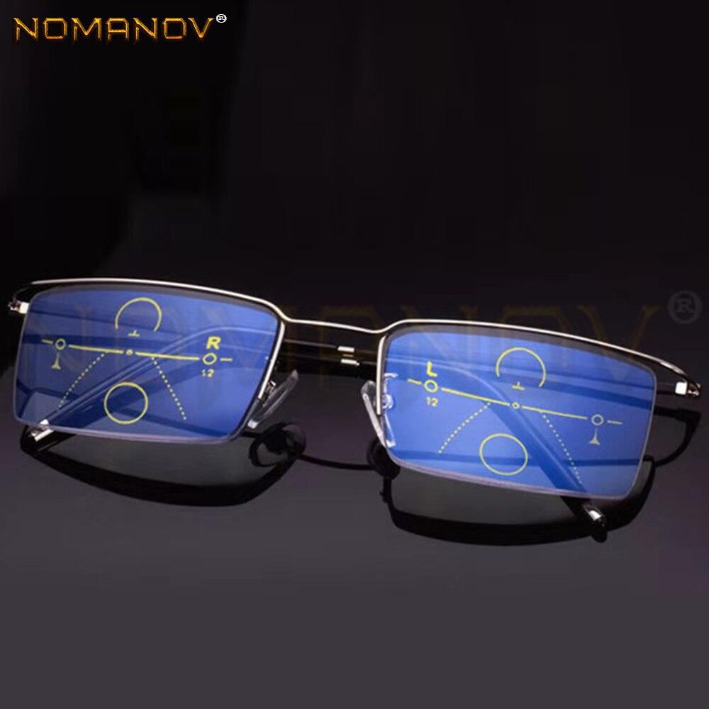 Ultra-light Rectangle Half-rim Frame office Men Women Progressive Multifocus Reading Glasses Add 75 100 125 150 175 200 to 400
