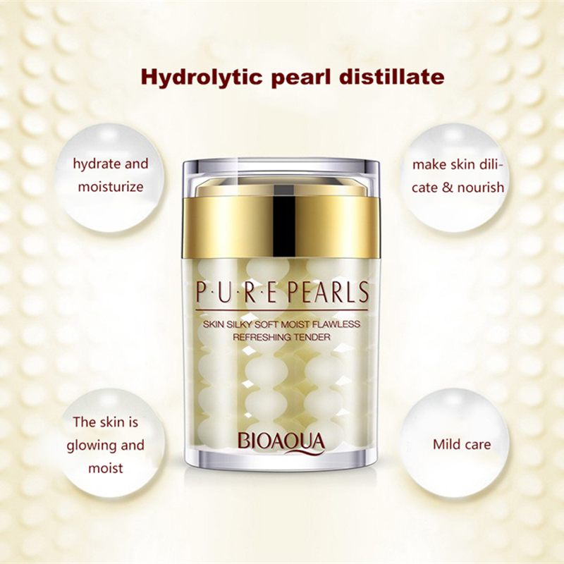 BIOAQUA Pure Pearls Face Cream Hyaluronic Acid Deep Nourish Skin Care Brighten Moisturizing Anti Wrinkle Day Cream 60g