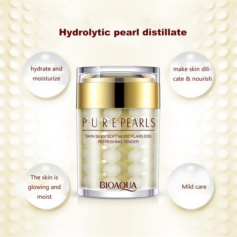 BIOAQUA Pure Pearls Face Cream Hyaluronic Acid Deep Nourish Skin Care Brighten Moisturizing Anti Wrinkle Day Cream 60g