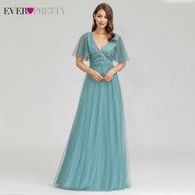 Элегантные платья для выпускного вечера Ever Pretty EP00727DB ТРАПЕЦИЕВИДНОЕ ПЛАТЬЕ с двойным v-образным вырезом, расшитое блестками, с рукавами, с вышивкой, вечерние платья Gala Jurken