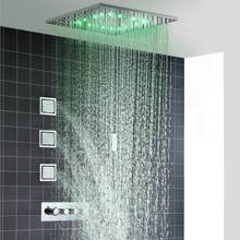 20 Inch Pancuran Spa Hujan Thermostatic Shower Faucet dengan Enam Sisi Sprayer dan Satu Handsprayer Kamar Mandi Spa Shower Set(China)