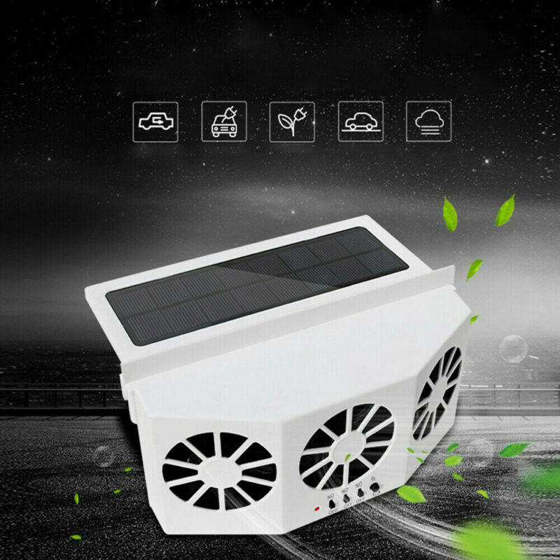 Vehicle Solar Powered Car Window Air Vent Cooler Exhaust Fan With Rechargeable Battery Car Radiator Mini Dual Fans Ventilator