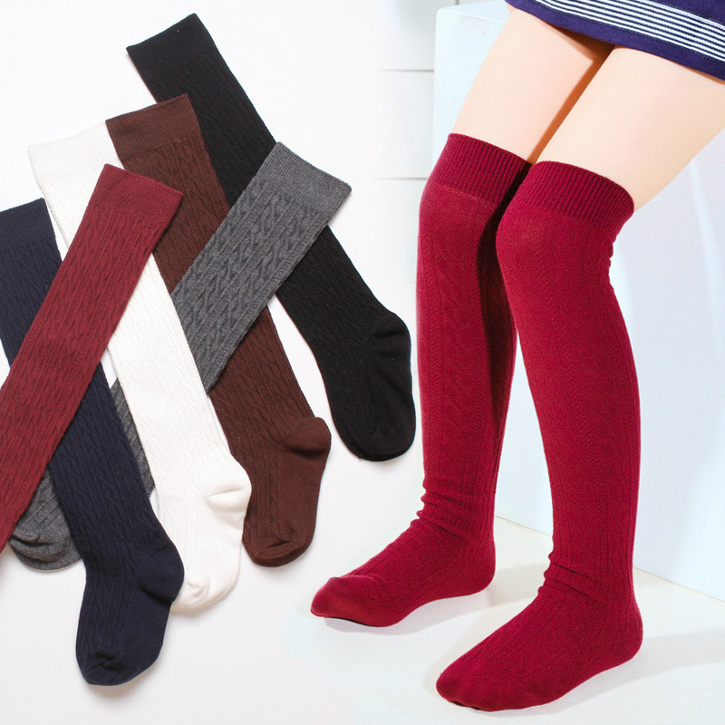 Girls' School Uniform Knee-High Sock Cable-Knit Children's Long Sock Fashion Kniekousen Kinderen Solid Color Kids Sock