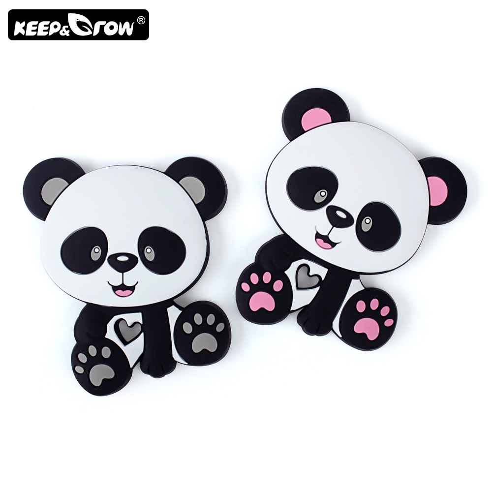 Keep&Grow 1pc Cartoon Panda Baby Silicone Teethers Teething Toys DIY Necklace Making Silicone Beads Accessories Baby Products