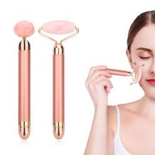 Электрический Вибрационный нефритовый ролик, натуральный розовый кварцевый камень, нефритовый массажер для лица, Дерма-ролик, инструмент для ухода за кожей, удаление морщин
