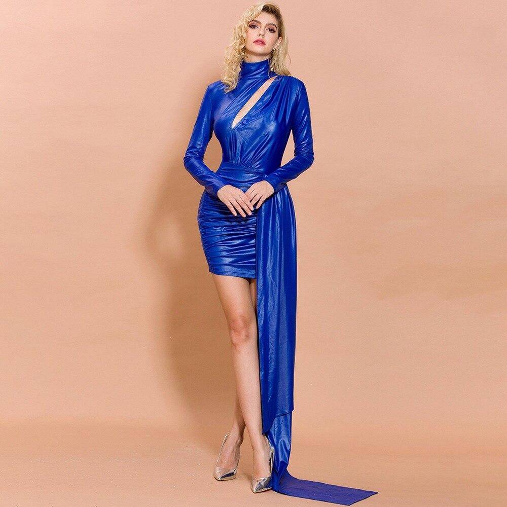FJ1152T-2019 New Autumn And Winter High Collar Long Sleeve Fashion Evening Dress Temperament Dress