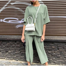 Summer Set For Women Casual Khaki Set Half Sleeve Tshirt And Pants 2 Piece Set Female 2020 Solid Fashion Loose Lady Outfit Set(China)