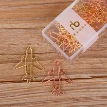 12pcs/set Rose Gold Airplane Shape Metal Paper Clips Escolar Bookmarks Memo Clip Binder Clip Stationery Book Note Decoration