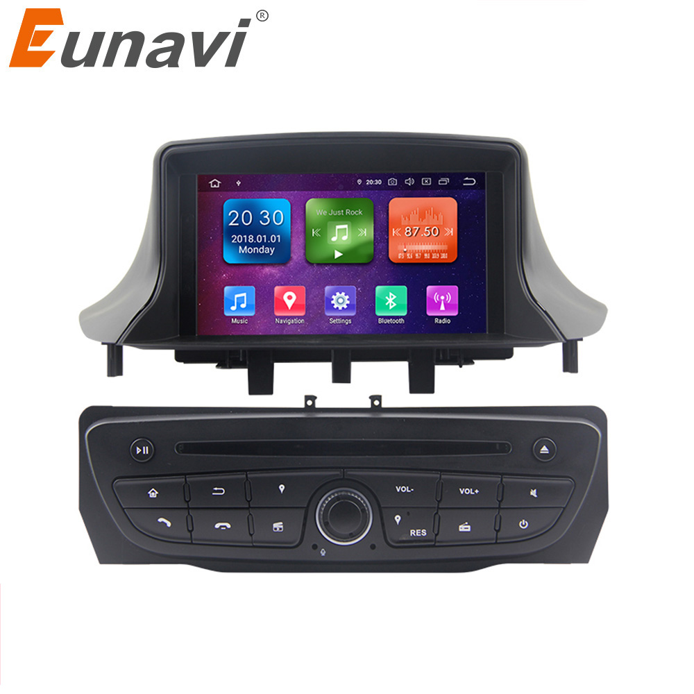 Eunavi Android 9 Car Radio Multimedia Stereo For Renault <font><b>Megane</b></font> <font><b>3</b></font> Fluence 2009-2015 <font><b>GPS</b></font> Navigation TDA7851 4G 64G WIFI headunit image