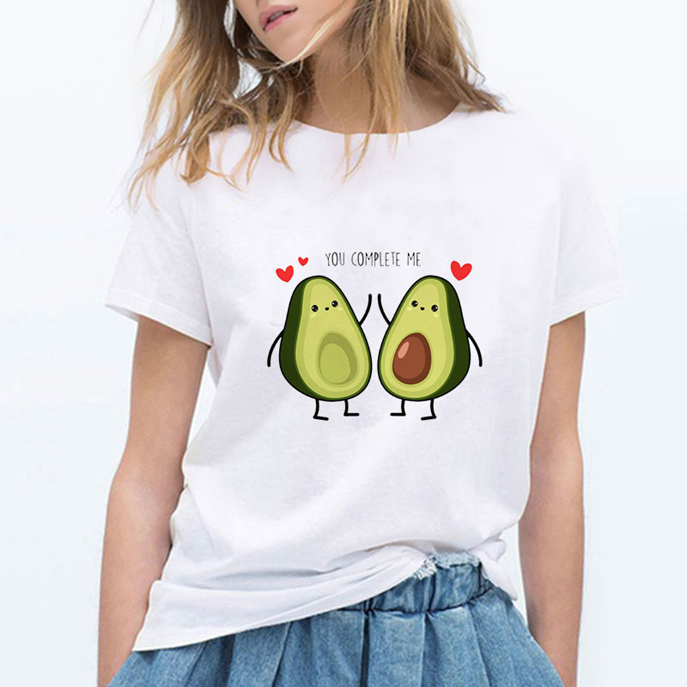 LUCKYROLL T Shirt Women YOU COMPLETE ME Avocado Tshirt 90s Short Sleeve Casual Retro T-shirt Female Summer Funny Hipster Top
