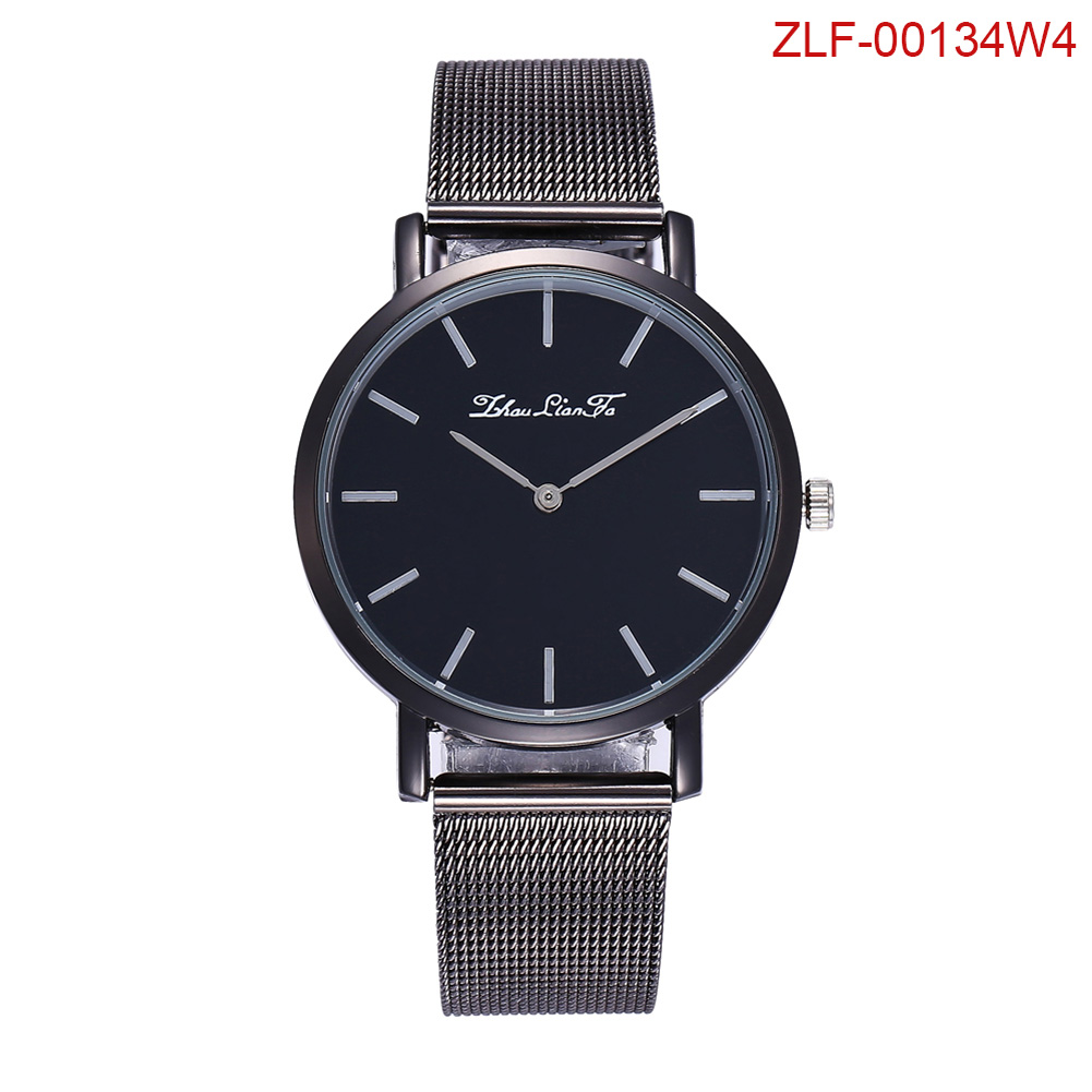 Women Men Fashion Watches Round Dial Steel Strap Quartz Watches Simple Style Business Travel LL@17