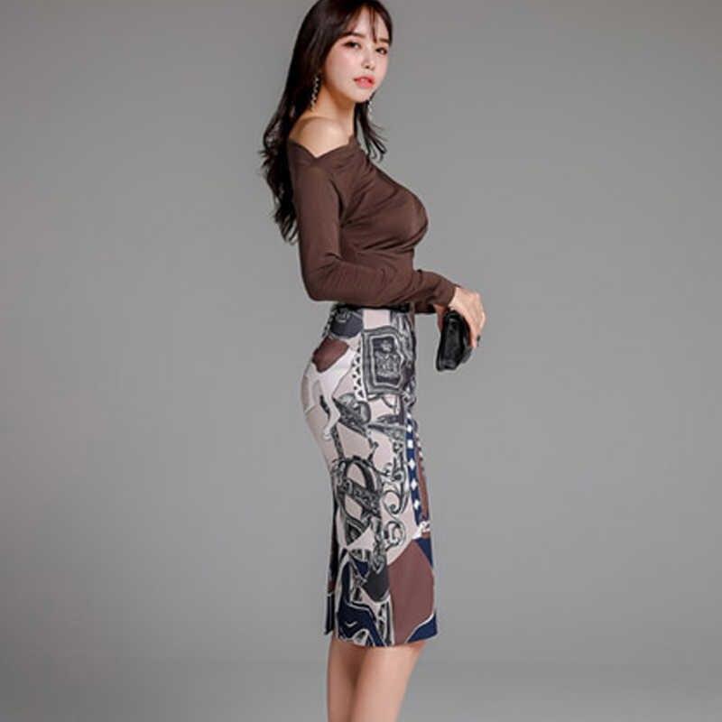 H ハン女王 2019 韓国スタイル新 2 枚セット女性秋スラッシュネック無地ニットトップス & 高ウエストプリントペンシルスカート