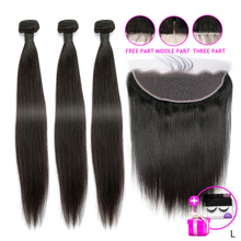 Hair-Bundles Frontal Human-Hair-Extensions Baby-Hair Indian Straight Weave with 13X4