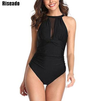 Riseado seksowna siatka stroje kąpielowe kobiety Halter strój kąpielowy jednoczęściowy czarny strój kąpielowy Ruched kostiumy kąpielowe strój kąpielowy bez pleców lato tanie i dobre opinie CN (pochodzenie) NYLON spandex WOMEN Patchwork Pasuje prawda na wymiar weź swój normalny rozmiar B0390 One Piece Swimsuit