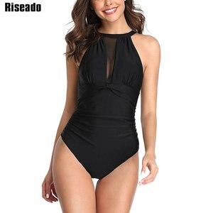 Image 1 - Riseado seksowna siatka stroje kąpielowe kobiety Halter strój kąpielowy jednoczęściowy czarny strój kąpielowy Ruched kostiumy kąpielowe strój kąpielowy bez pleców lato