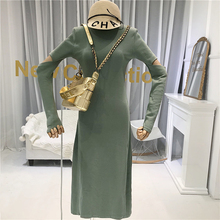 2019 Fall Hollow Out Sexy & Club Slim Dress Women Mid-Calf A-Line Solid Woman European American Simple Long Dresses Green