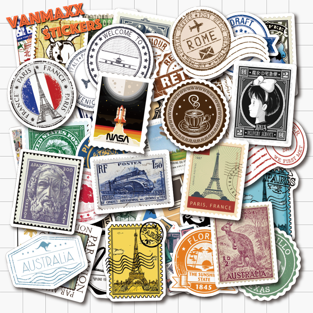 VANMAXX 50 PCS Stamps And Postmark Themed Graffiti Stickers Waterproof PVC Decal For Laptop Helmet Bicycle Luggage Phone Case