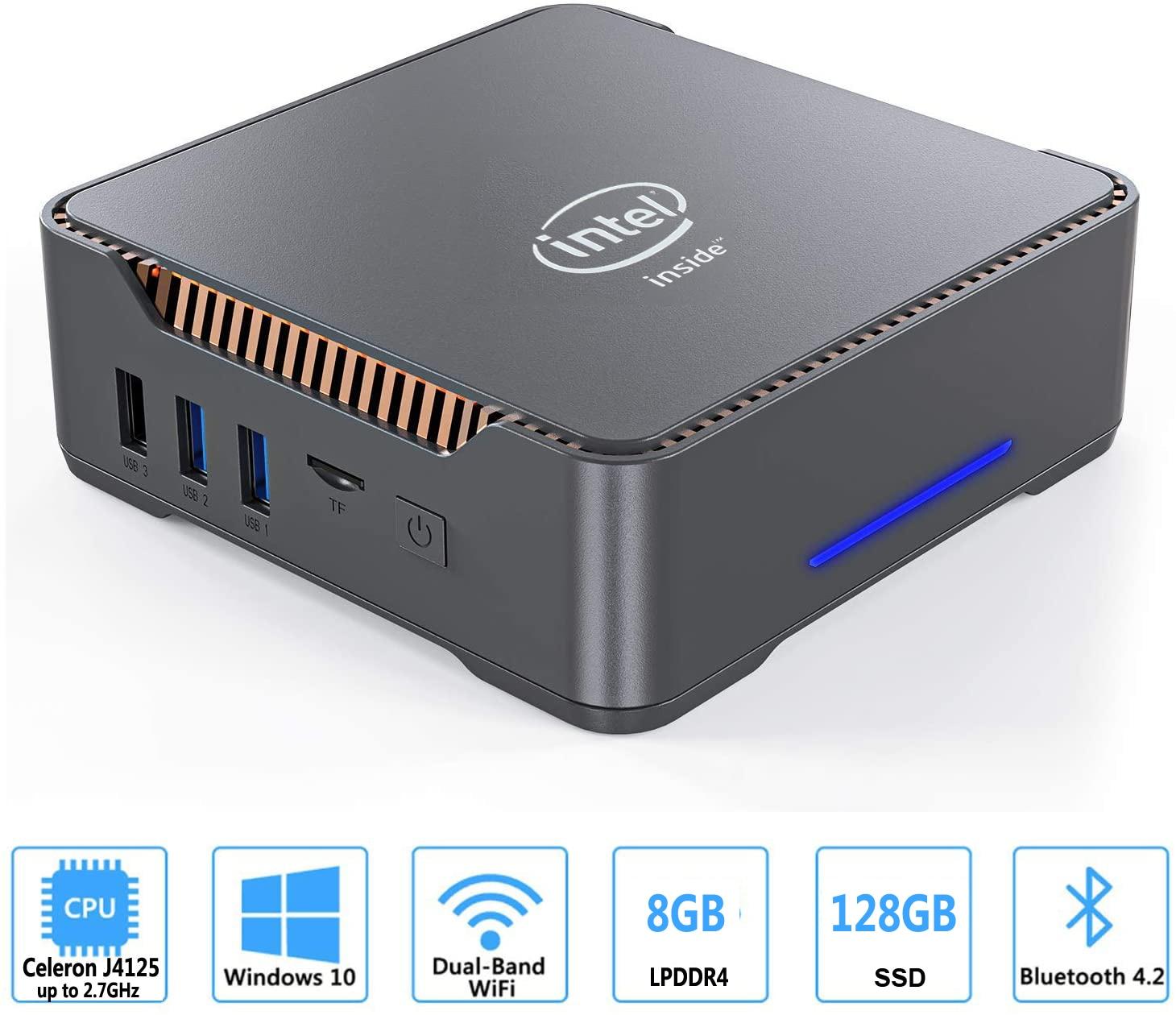 GK3V мини ПК Intel celeron J4125 Quad core 8 Гб Оперативная память 128 Гб/256 ГБ Windows 10 двойной WI FI, 4K 60Hz WIN10 двойной HDMI VGA настольных ПК HTPC|Мини ПК|   | АлиЭкспресс