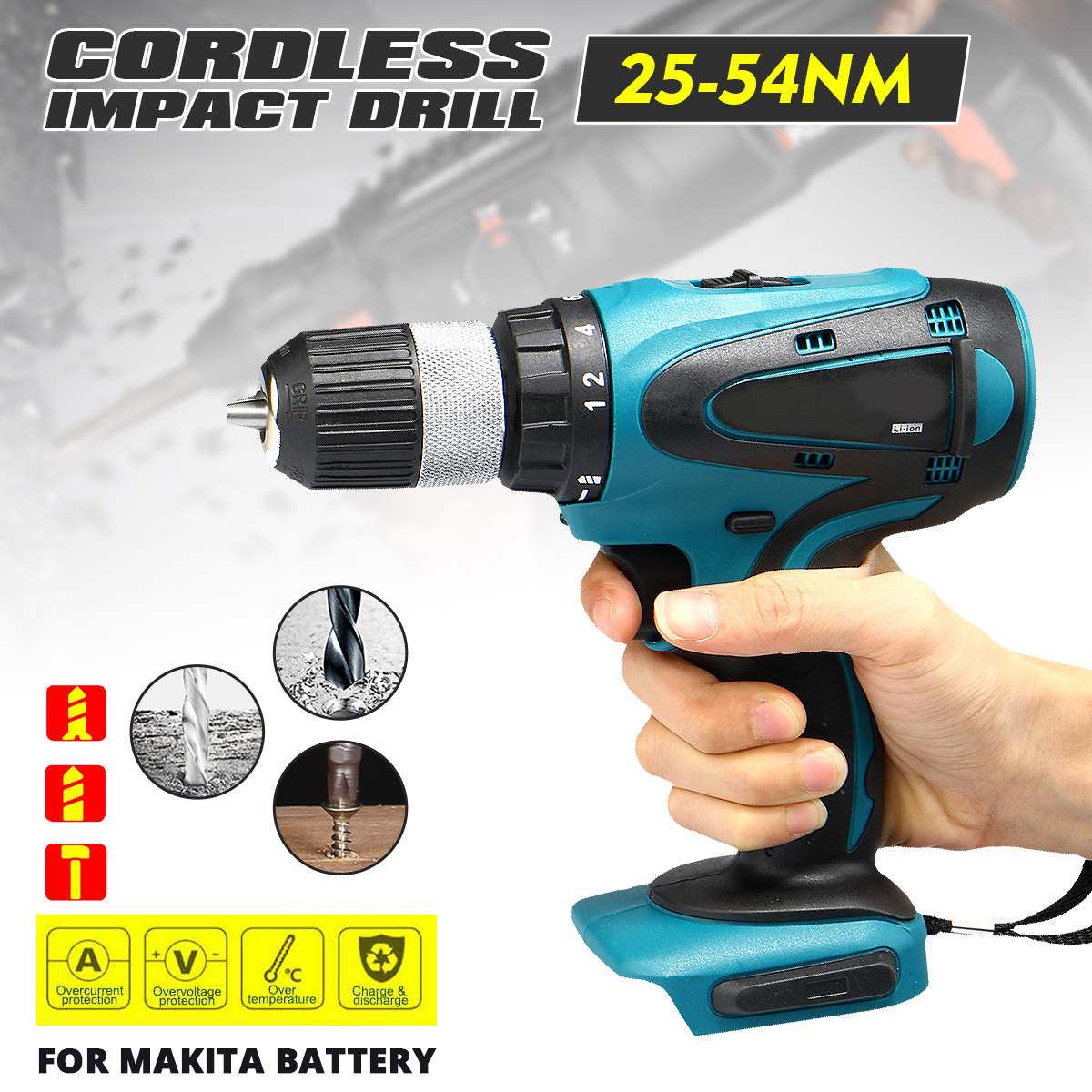 2 Speed Power Electric Screwdriver drill 18V Cordless Electric Impact Drill Rechargeable 13mm For Makita Battery Power Tool