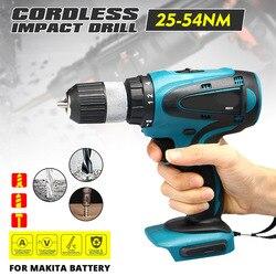 Taladro destornillador eléctrico de 2 velocidades 18V taladro de impacto eléctrico inalámbrico recargable 13mm para herramienta eléctrica de batería Makita