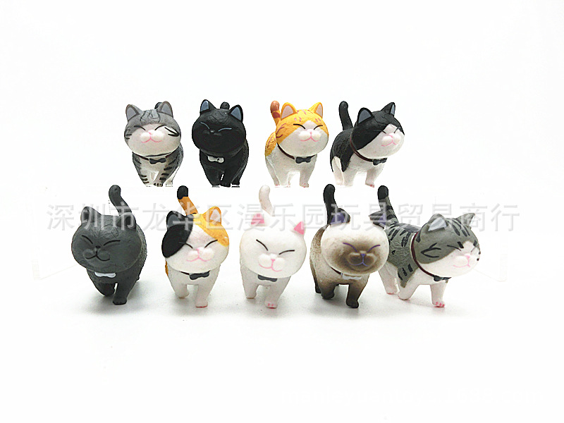 ThinkEasy 9 Pieces Cute Pvc Kitty Cat with Bell Action Toy Figures Doll Alicorn Figure Dolls for Girl