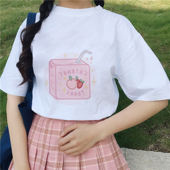 Cartoon Peach Juice Japanses Aesthetic Grunge T shirt Women Harajuku Kawaii White Summer Casual Tumblr Outfit Fashion tshirt