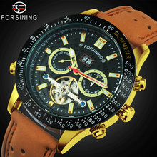 FORSINING Fashion Tourbillon Skeleton Mechanical Watch Men Leather Strap Multifunction Automatic Watches for Men Luxury Clock forsining top brand luxury mechanical watch men tourbillon small sub dials display magnet strap 2018 new fashion auto wristwatch
