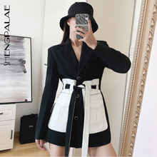 SHENGPALAE 2020 New Fashion Spring Blazer For Women Lapel Contract Color With Be