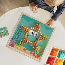 240 pçs 3d cogumelo prego inteligente quebra-cabeça jogos com caixa de armazenamento madeira mosaico peg placa quebra-cabeça crianças diy brinquedos educativos