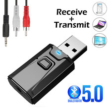 USB Bluetooth 5.0 Transmitter Receiver Mic 3 In 1 EDR Adapter Dongle 3.5Mm AUX untuk TV PC Headphone Rumah stereo Mobil HI FI Audio(China)