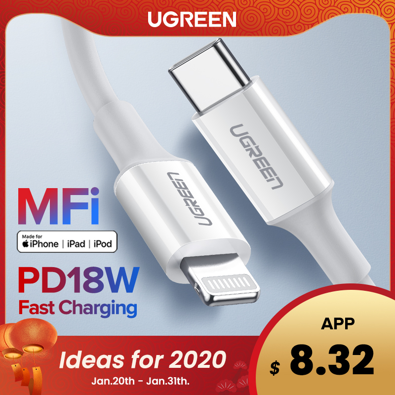 Ugreen MFi USB C to Lightning Cable for iPhone 11 Pro X PD Fast USB-C to Lightning Charging Cable for Macbook Pro Charger Cord(China)