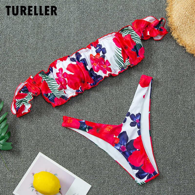 נשים של 2020 אדום פרח Bandeau ביקיני Push Up כבוי כתף חוטיני מיני Biquini בגד ים נשי חוף פיצול בגד ים