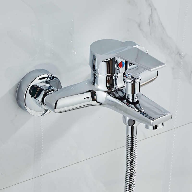 Duvara monte küvet bataryası Krom Pirinç banyo musluğu banyo duş bataryası sıcak ve soğuk su Duş Mikser Vana
