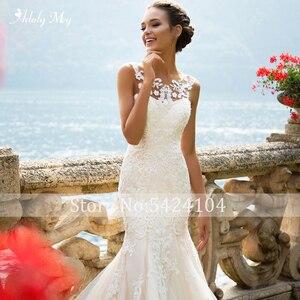 Image 5 - Adoly Mey Romantic Scoop Neck Tank Sleeve Mermaid Wedding Dresses 2020 Luxury Appliques Court Train Vintage Bride Gown Plus Size