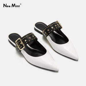 2020 Summer Punk Style Rivets Mules Shoes Women Pointed Toe Flat Sandals Women Leather Mule Slides Studded Ladies Sandals(China)