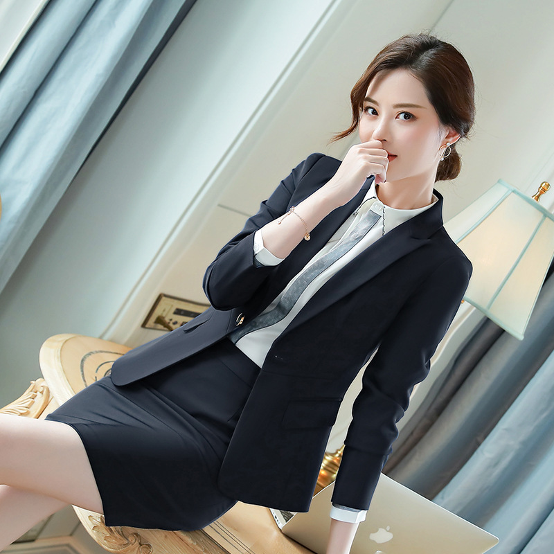 Formal Elegant Uniform Styles Blazers Suits 2 Pieces With Tops And Skirt For Ladies Office Work Wear Slim Blazer Sets Clothes