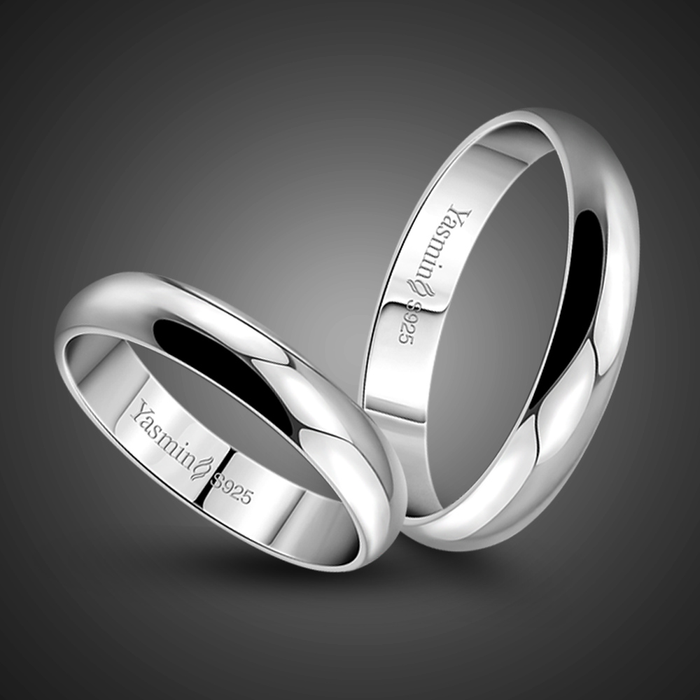 Simple marriage engagement ring. Solid 925 silver couple ring. Woman or man single ring. Wholesale sterling silver jewelry
