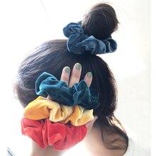 Ponytail-Holder Headband Hair-Accessories Silk Scrunchie Velvet Elastic Women Handmademulticolor