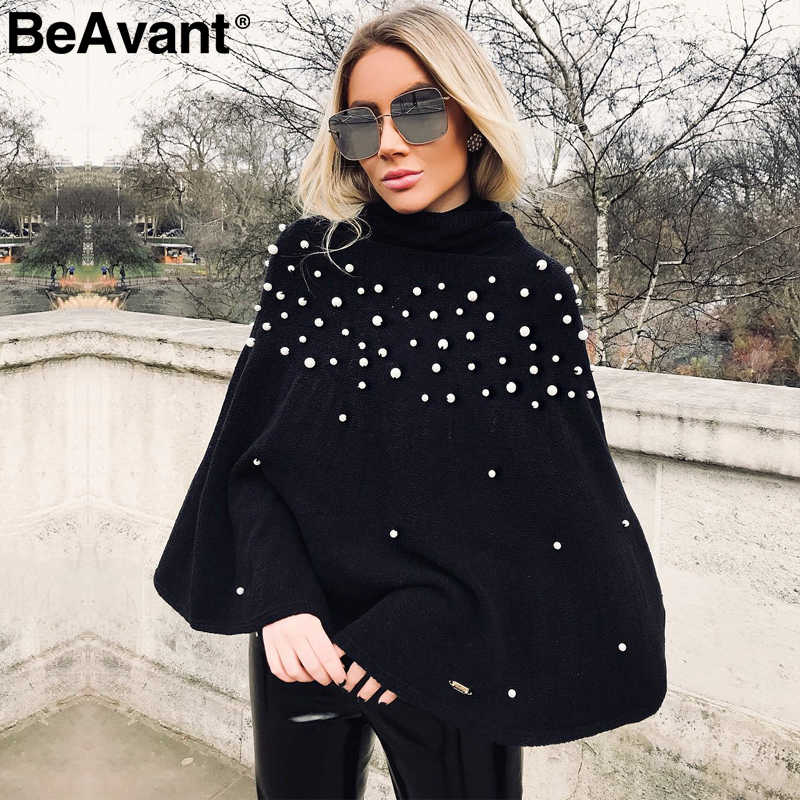 BeAvant Turtleneck knitted winter sweater women knit Loose pullover jumper pull femme 2019 Pearl beaded oversized sweater cape