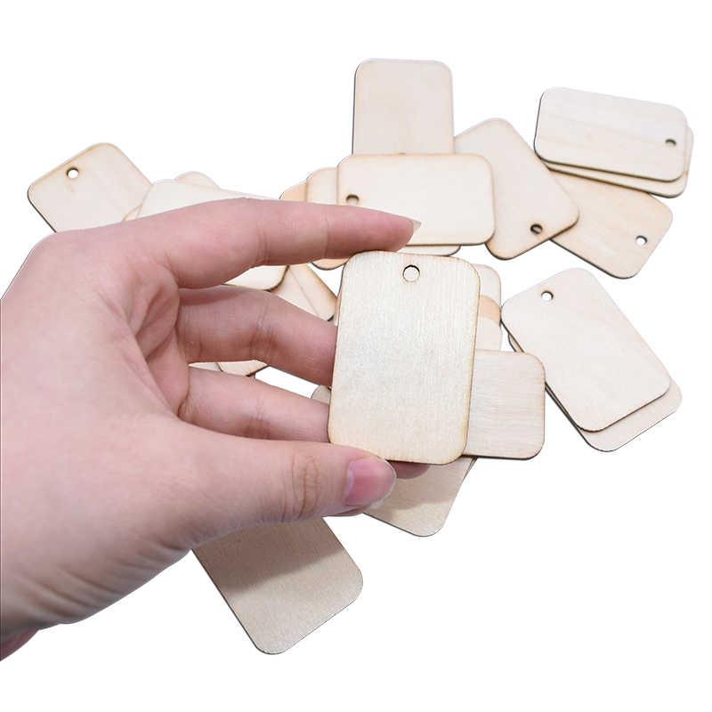 25/50/100 sztuk niedokończone drewno kromka okrągły narożnik prostokątny drewniany etykieta prezent tagi wiszące etykiety z liny Wedding Party DIY Craft