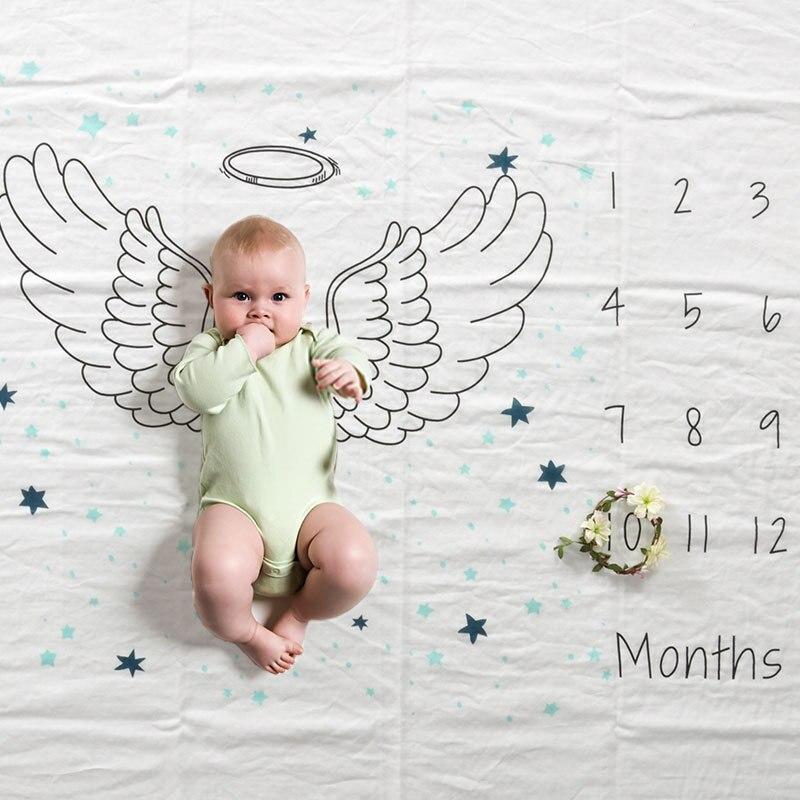 Baby Muslin Swaddle Cotton Soft Newborn Baby Age Milestone Month Blanket Bath Gauze Infant Wrap Sleepsack Manta Algodon Bebe