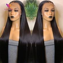 Perruque Lace Front Wig brésilienne naturelle, cheveux lisses, transparent, 30 pouces, pour femmes